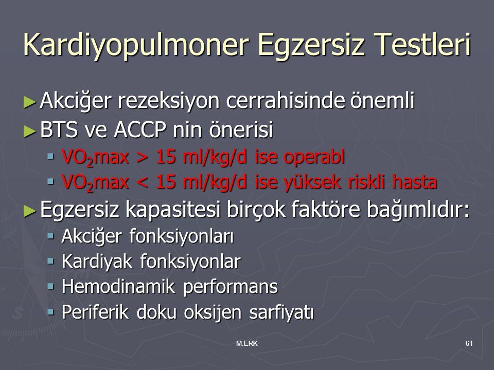 M.ERK61 Kardiyopulmoner Egzersiz Testleri ► Akciğer rezeksiyon cerrahisinde önemli ► BTS ve ACCP nin önerisi  VO 2 max > 15 ml/kg/d ise operabl  VO
