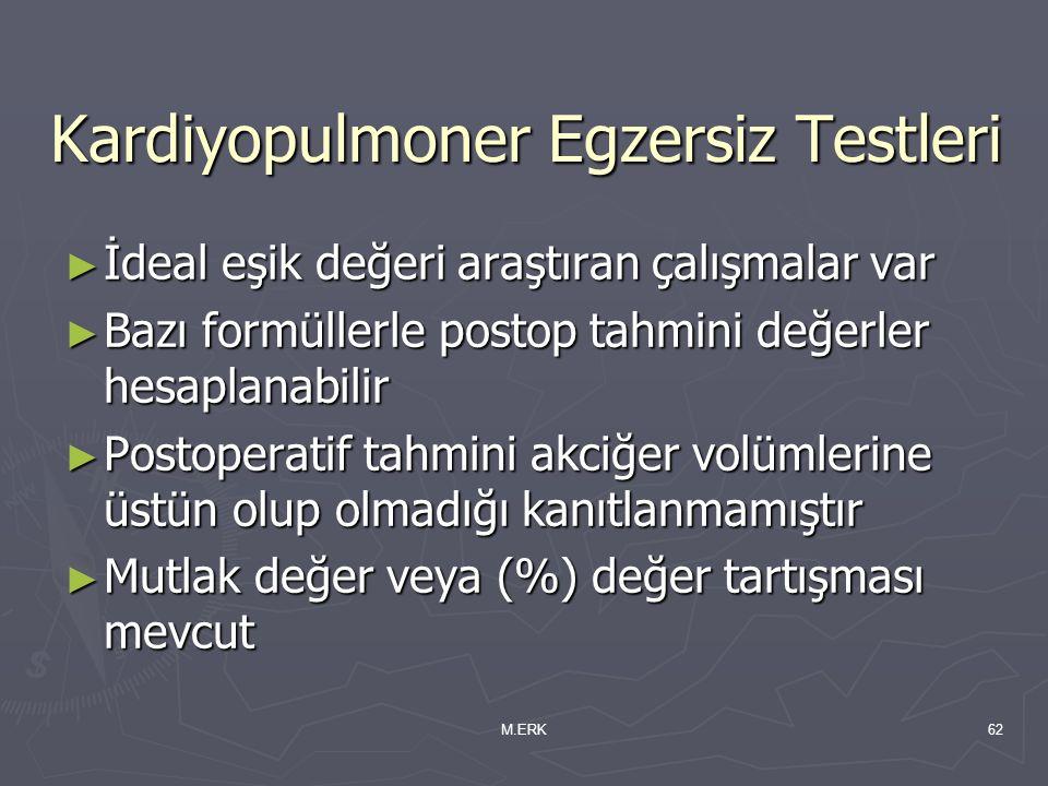 M.ERK62 Kardiyopulmoner Egzersiz Testleri ► İdeal eşik değeri araştıran çalışmalar var ► Bazı formüllerle postop tahmini değerler hesaplanabilir ► Pos