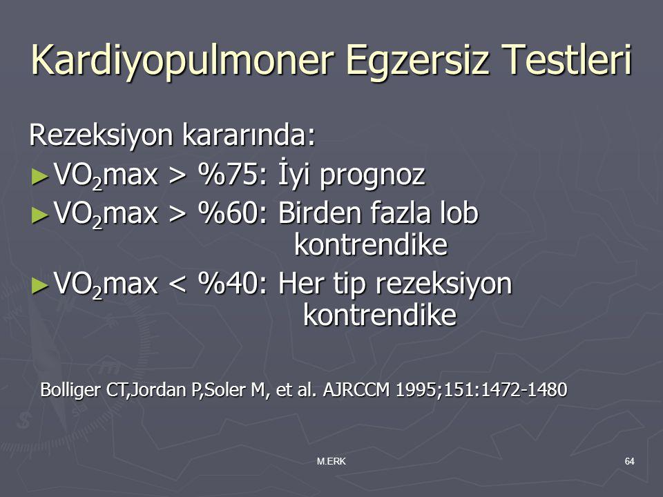 M.ERK64 Kardiyopulmoner Egzersiz Testleri Rezeksiyon kararında: ► VO 2 max > %75: İyi prognoz ► VO 2 max > %60: Birden fazla lob kontrendike ► VO 2 ma