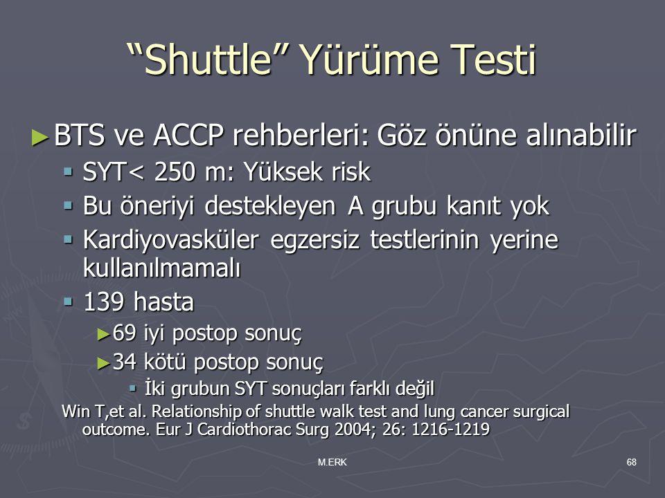 """M.ERK68 """"Shuttle"""" Yürüme Testi ► BTS ve ACCP rehberleri: Göz önüne alınabilir  SYT< 250 m: Yüksek risk  Bu öneriyi destekleyen A grubu kanıt yok  K"""