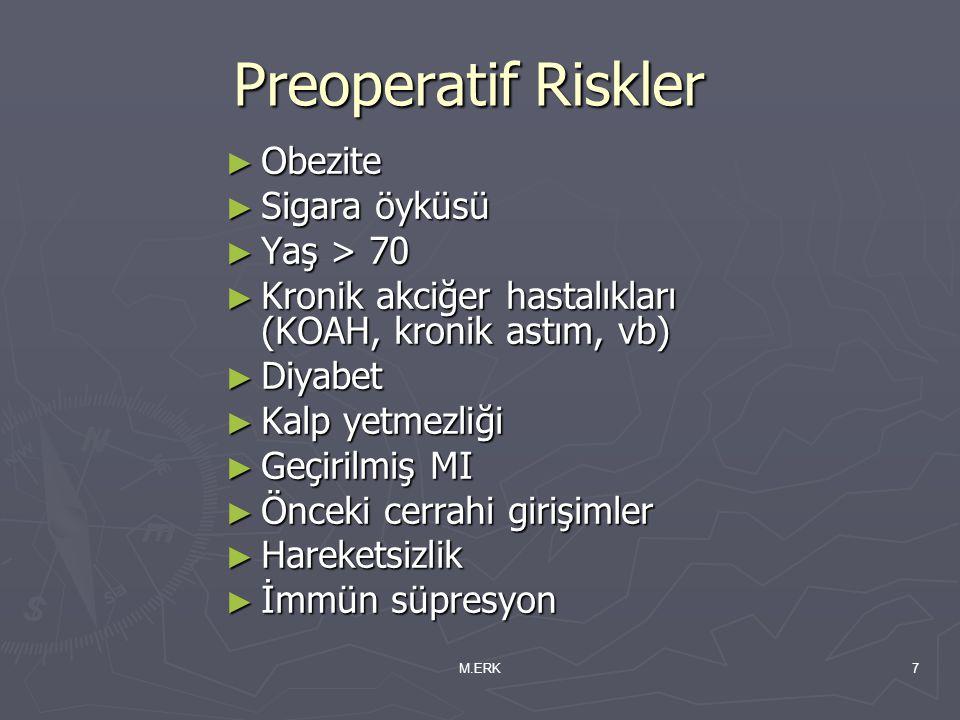 M.ERK7 Preoperatif Riskler ► Obezite ► Sigara öyküsü ► Yaş > 70 ► Kronik akciğer hastalıkları (KOAH, kronik astım, vb) ► Diyabet ► Kalp yetmezliği ► G