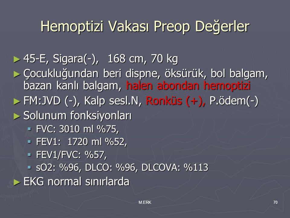 M.ERK70 Hemoptizi Vakası Preop Değerler ► 45-E, Sigara(-), 168 cm, 70 kg ► Çocukluğundan beri dispne, öksürük, bol balgam, bazan kanlı balgam, halen a