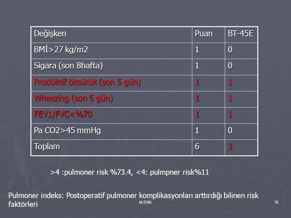 M.ERK76 DeğişkenPuanBT-45E BMİ>27 kg/m2 10 Sigara (son 8hafta) 10 Prodüktif öksürük (son 5 gün) 11 Wheezing (son 5 gün) 11 FEV1/FVC<%7011 Pa CO2>45 mm