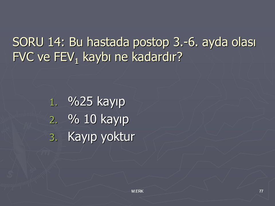 M.ERK77 SORU 14: Bu hastada postop 3.-6. ayda olası FVC ve FEV 1 kaybı ne kadardır? 1. %25 kayıp 2. % 10 kayıp 3. Kayıp yoktur