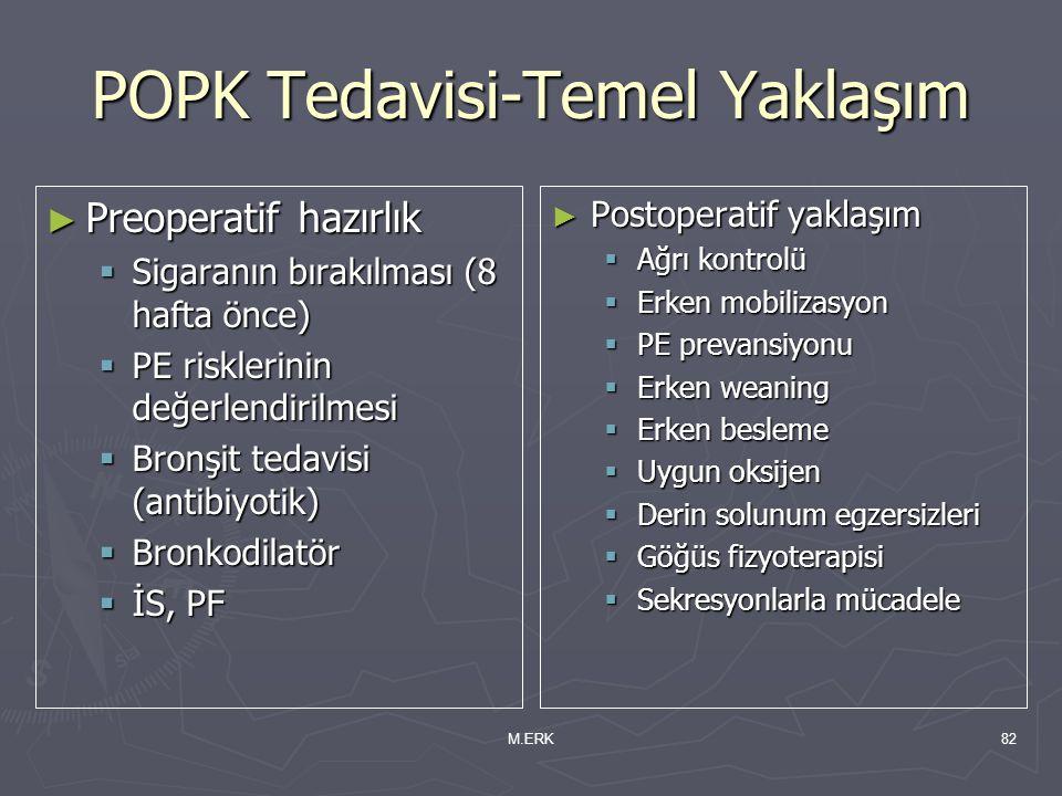 M.ERK82 POPK Tedavisi-Temel Yaklaşım ► Preoperatif hazırlık  Sigaranın bırakılması (8 hafta önce)  PE risklerinin değerlendirilmesi  Bronşit tedavi