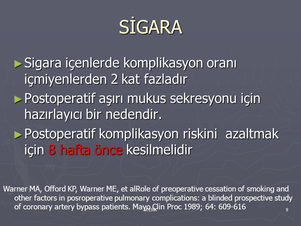 M.ERK9 SİGARA ► Sigara içenlerde komplikasyon oranı içmiyenlerden 2 kat fazladır ► Postoperatif aşırı mukus sekresyonu için hazırlayıcı bir nedendir.