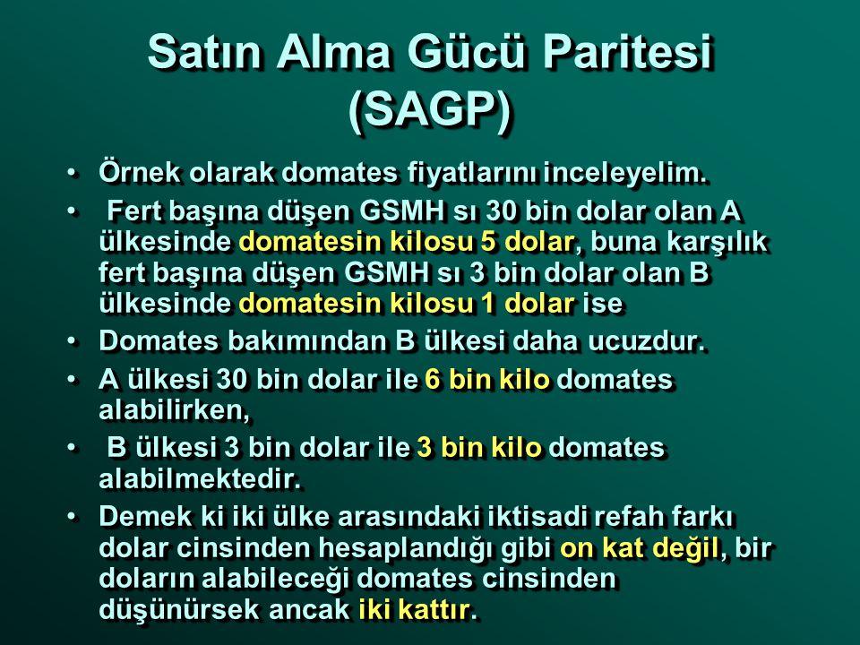 Satın Alma Gücü Paritesi (SAGP) İki ülkenin iktisadi refahını karşılaştırırken, söz konusu ülkelerin belirli bir yıldaki dolar cinsinden fert başına d
