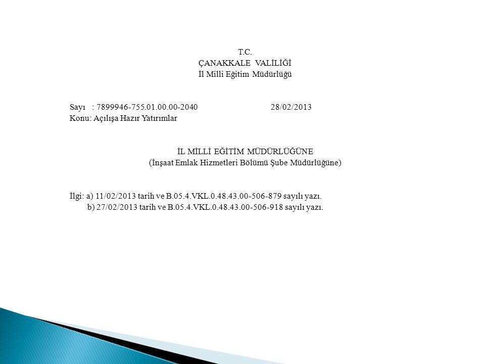 T.C. ÇANAKKALE VALİLİĞİ İl Milli Eğitim Müdürlüğü Sayı : 7899946-755.01.00.00-2040 28/02/2013 Konu: Açılışa Hazır Yatırımlar İL MİLLİ EĞİTİM MÜDÜRLÜĞÜ