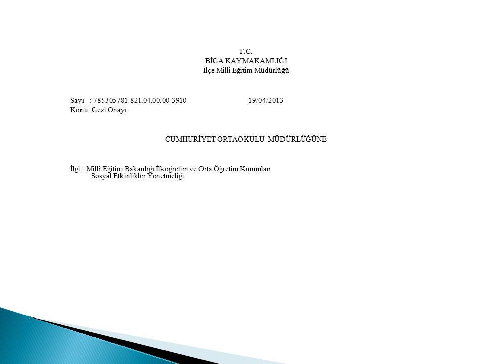 T.C. BİGA KAYMAKAMLIĞI İlçe Milli Eğitim Müdürlüğü Sayı : 785305781-821.04.00.00-3910 19/04/2013 Konu: Gezi Onayı CUMHURİYET ORTAOKULU MÜDÜRLÜĞÜNE İlg