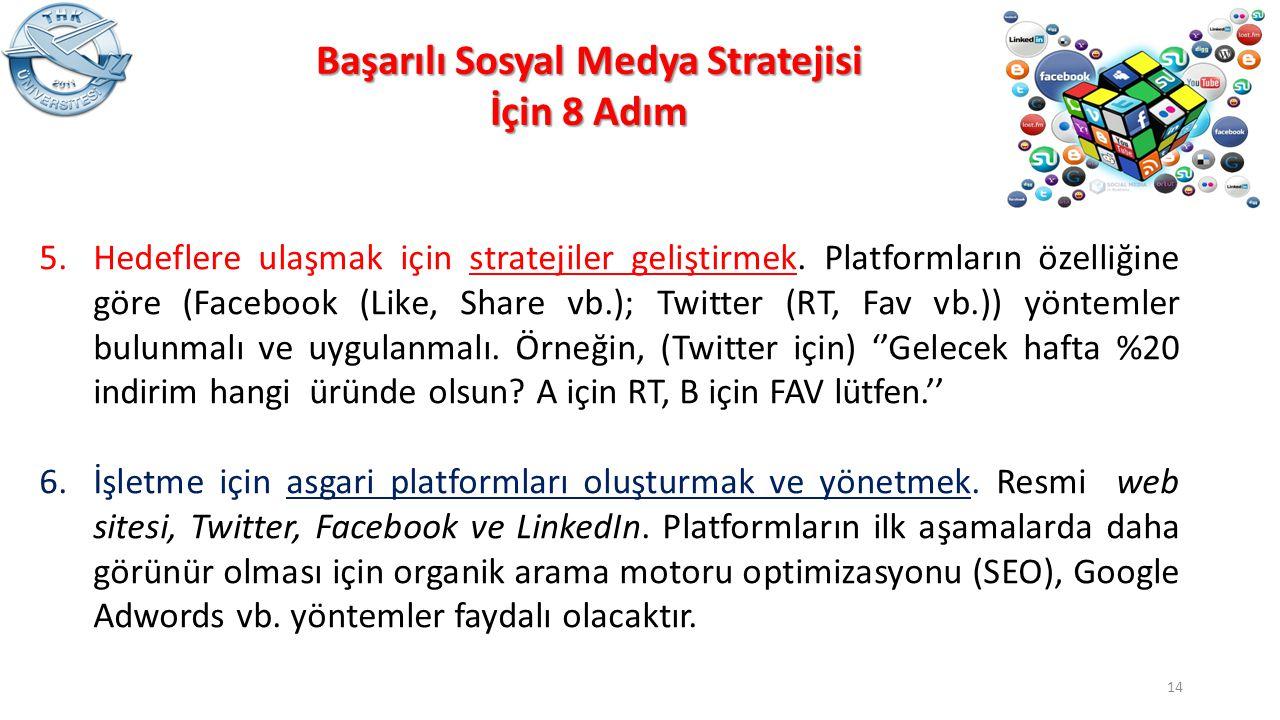 5.Hedeflere ulaşmak için stratejiler geliştirmek. Platformların özelliğine göre (Facebook (Like, Share vb.); Twitter (RT, Fav vb.)) yöntemler bulunmal