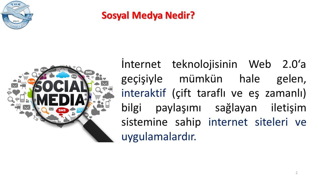 Sosyal Medya Nedir? İnternet teknolojisinin Web 2.0'a geçişiyle mümkün hale gelen, interaktif (çift taraflı ve eş zamanlı) bilgi paylaşımı sağlayan il