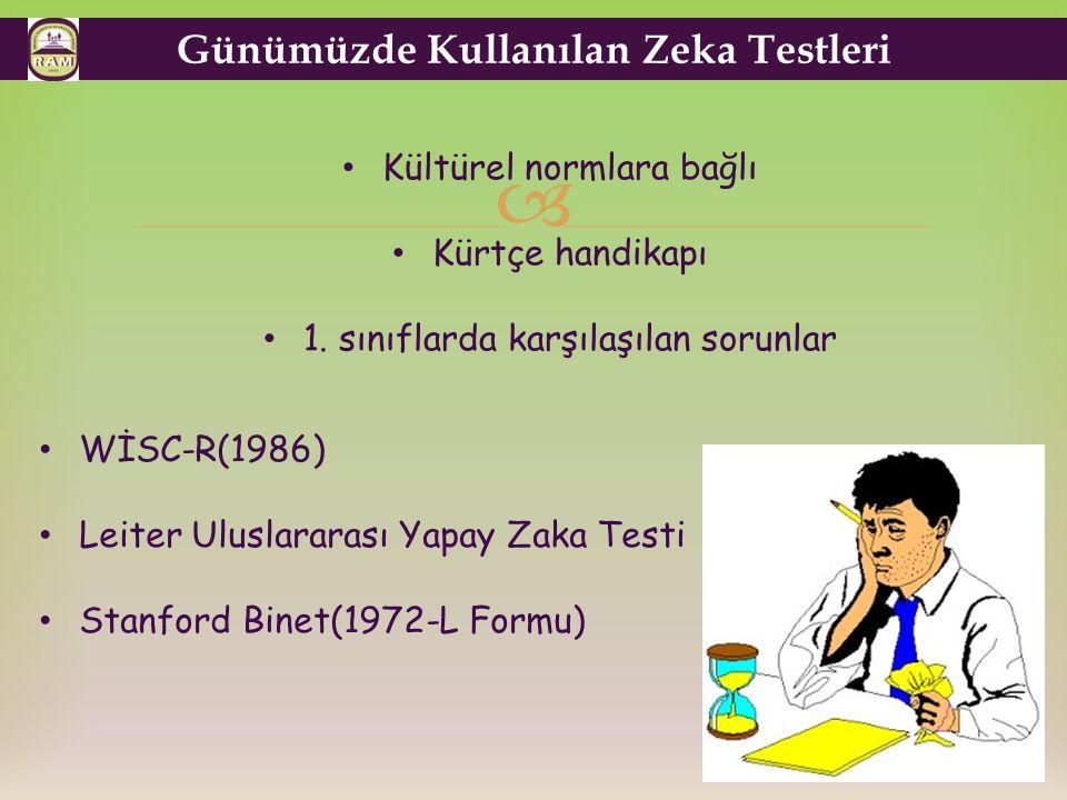  Günümüzde Kullanılan Zeka Testleri Kültürel normlara bağlı Kürtçe handikapı 1.