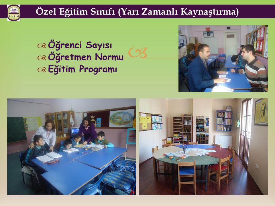   Öğrenci Sayısı  Öğretmen Normu  Eğitim Programı Özel Eğitim Sınıfı (Yarı Zamanlı Kaynaştırma)