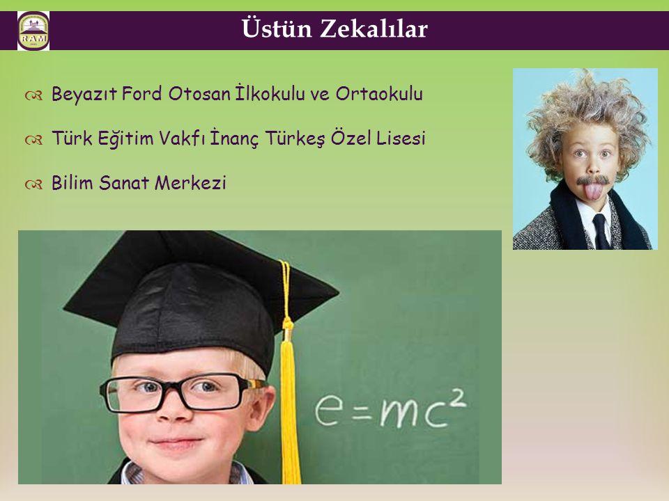 Üstün Zekalılar  Beyazıt Ford Otosan İlkokulu ve Ortaokulu  Türk Eğitim Vakfı İnanç Türkeş Özel Lisesi  Bilim Sanat Merkezi