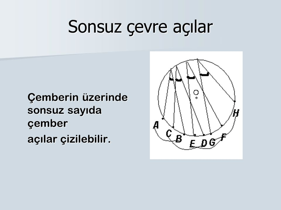 Sonsuz çevre açılar Çemberin üzerinde sonsuz sayıda çember açılar çizilebilir.