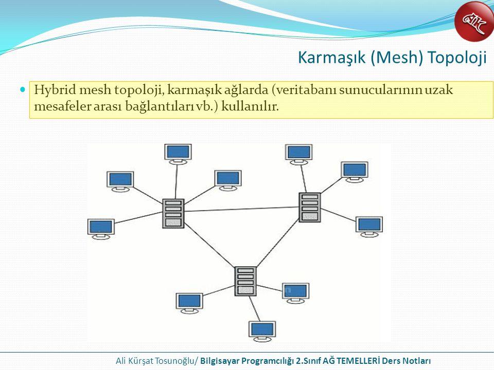 Ali Kürşat Tosunoğlu/ Bilgisayar Programcılığı 2.Sınıf AĞ TEMELLERİ Ders Notları Hybrid mesh topoloji, karmaşık ağlarda (veritabanı sunucularının uzak mesafeler arası bağlantıları vb.) kullanılır.