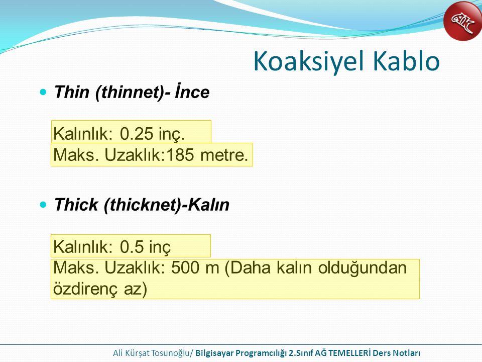 Ali Kürşat Tosunoğlu/ Bilgisayar Programcılığı 2.Sınıf AĞ TEMELLERİ Ders Notları Koaksiyel Kablo Thin (thinnet)- İnce Kalınlık: 0.25 inç.