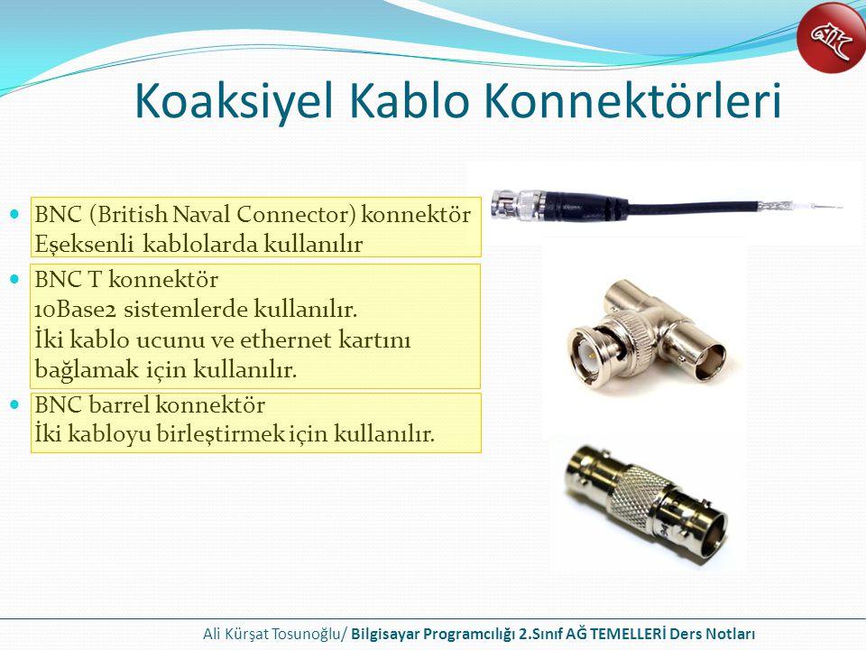 Ali Kürşat Tosunoğlu/ Bilgisayar Programcılığı 2.Sınıf AĞ TEMELLERİ Ders Notları Koaksiyel Kablo Konnektörleri BNC (British Naval Connector) konnektör Eşeksenli kablolarda kullanılır BNC T konnektör 10Base2 sistemlerde kullanılır.