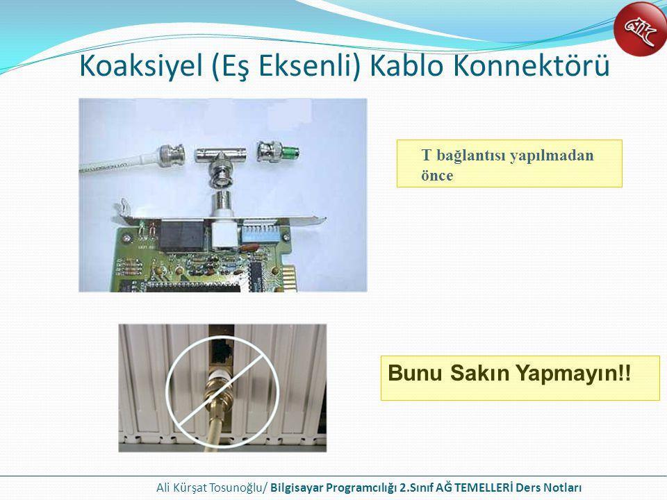 Ali Kürşat Tosunoğlu/ Bilgisayar Programcılığı 2.Sınıf AĞ TEMELLERİ Ders Notları Koaksiyel (Eş Eksenli) Kablo Konnektörü Bunu Sakın Yapmayın!.