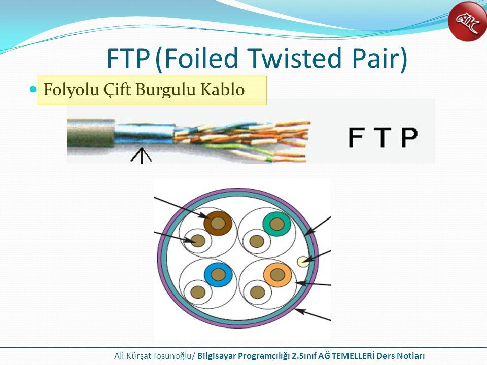 Ali Kürşat Tosunoğlu/ Bilgisayar Programcılığı 2.Sınıf AĞ TEMELLERİ Ders Notları FTP(Foiled Twisted Pair) Folyolu Çift Burgulu Kablo