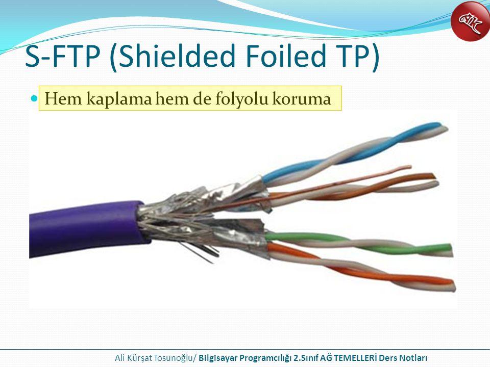 Ali Kürşat Tosunoğlu/ Bilgisayar Programcılığı 2.Sınıf AĞ TEMELLERİ Ders Notları S-FTP (Shielded Foiled TP) Hem kaplama hem de folyolu koruma