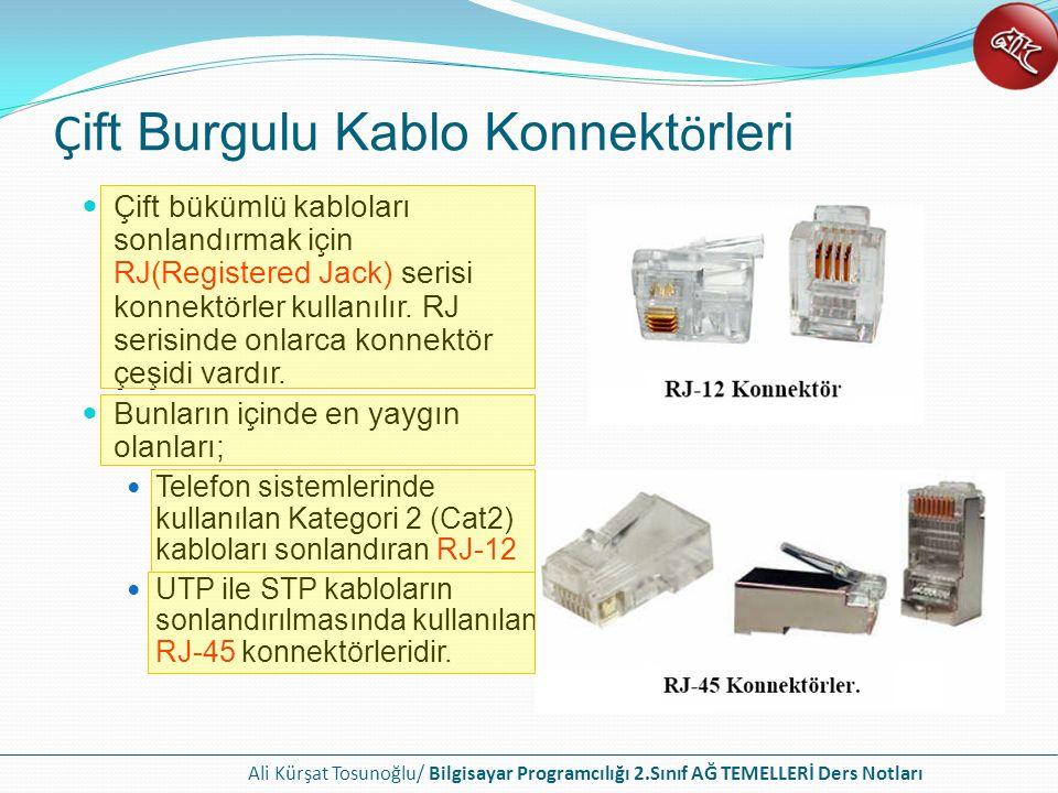 Ali Kürşat Tosunoğlu/ Bilgisayar Programcılığı 2.Sınıf AĞ TEMELLERİ Ders Notları Çift bükümlü kabloları sonlandırmak için RJ(Registered Jack) serisi konnektörler kullanılır.
