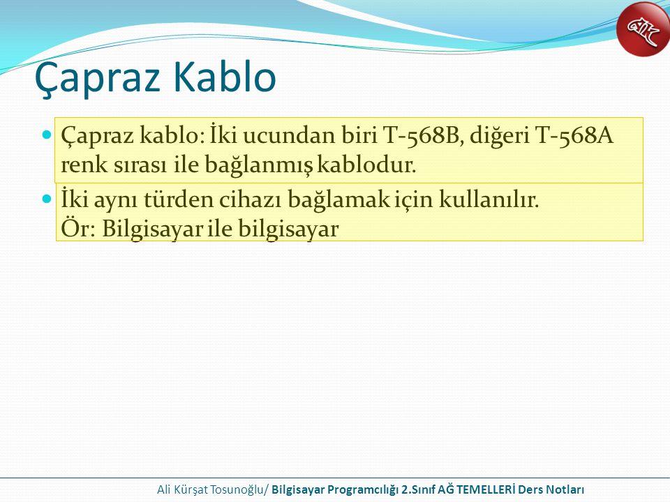 Ali Kürşat Tosunoğlu/ Bilgisayar Programcılığı 2.Sınıf AĞ TEMELLERİ Ders Notları Çapraz Kablo Çapraz kablo: İki ucundan biri T-568B, diğeri T-568A renk sırası ile bağlanmış kablodur.