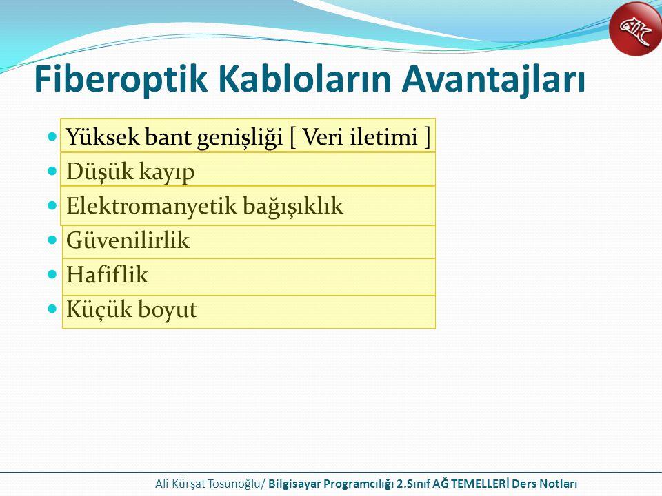 Ali Kürşat Tosunoğlu/ Bilgisayar Programcılığı 2.Sınıf AĞ TEMELLERİ Ders Notları Fiberoptik Kabloların Avantajları Yüksek bant genişliği [ Veri iletimi ] Düşük kayıp Elektromanyetik bağışıklık Güvenilirlik Hafiflik Küçük boyut