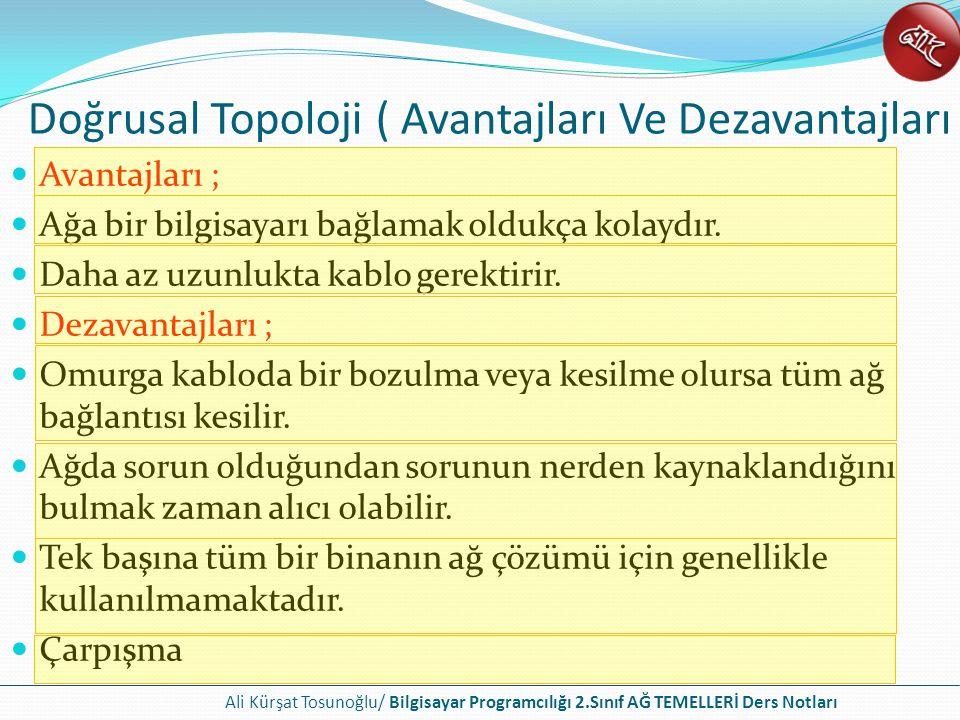Ali Kürşat Tosunoğlu/ Bilgisayar Programcılığı 2.Sınıf AĞ TEMELLERİ Ders Notları Halka Topoloji Halka içerisindeki bir bilgisayar bozulursa tüm ağ bağlantısı kesilir.