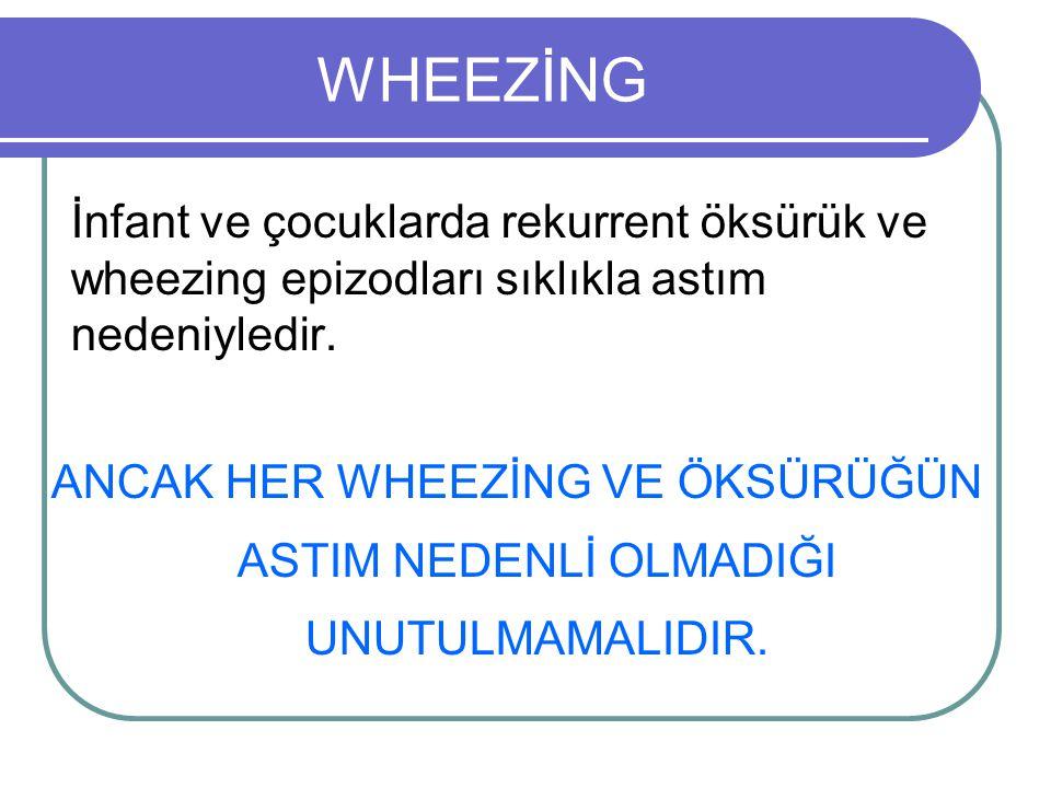 Wheezing oluşumunda etkili faktörler Toraksın yapısı Bronşların yapısı Fonksiyonu Atopik bünye Deri testi duyarlılıkları Enfeksiyona yanıt Eşlik eden hastalıklar (atopik dermatit vs)