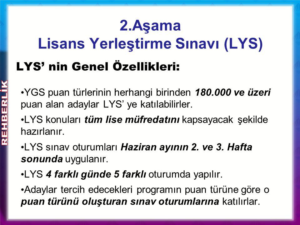 2.Aşama Lisans Yerleştirme Sınavı (LYS) YGS puan türlerinin herhangi birinden 180.000 ve üzeri puan alan adaylar LYS' ye katılabilirler. LYS konuları