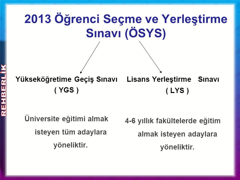 2013 Öğrenci Seçme ve Yerleştirme Sınavı (ÖSYS) Yükseköğretime Geçiş Sınavı ( YGS ) Üniversite eğitimi almak isteyen tüm adaylara yöneliktir. Lisans Y