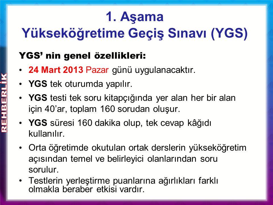 1. Aşama Yükseköğretime Geçiş Sınavı (YGS ) YGS' nin genel özellikleri: 24 Mart 2013 Pazar günü uygulanacaktır. YGS tek oturumda yapılır. YGS testi te