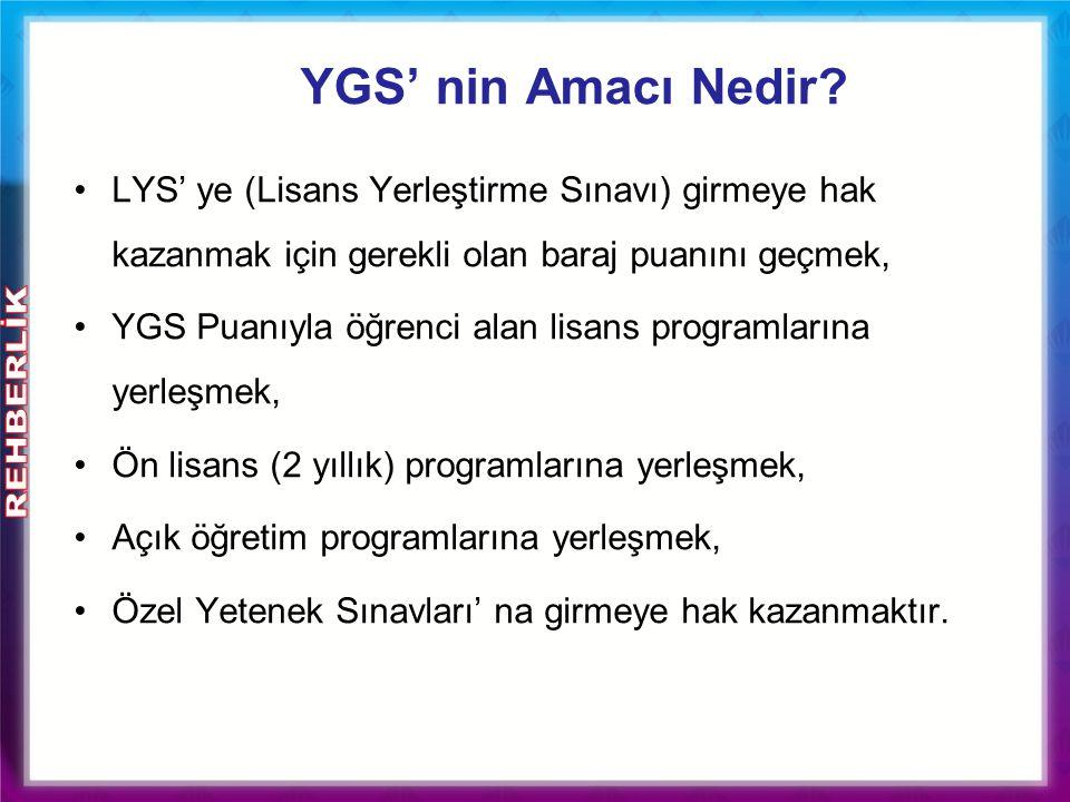 YGS' nin Amacı Nedir? LYS' ye (Lisans Yerleştirme Sınavı) girmeye hak kazanmak için gerekli olan baraj puanını geçmek, YGS Puanıyla öğrenci alan lisan