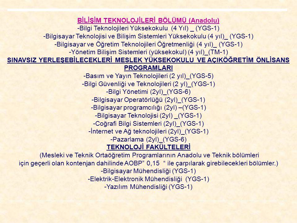 BİLİŞİM TEKNOLOJİLERİ BÖLÜMÜ (Anadolu) -Bilgi Teknolojileri Yüksekokulu (4 Yıl) _ (YGS-1) -Bilgisayar Teknolojisi ve Bilişim Sistemleri Yüksekokulu (4 yıl)_ (YGS-1) -Bilgisayar ve Öğretim Teknolojileri Öğretmenliği (4 yıl)_ (YGS-1) -Yönetim Bilişim Sistemleri (yüksekokul) (4 yıl)_(TM-1) SINAVSIZ YERLEŞEBİLECEKLERİ MESLEK YÜKSEKOKULU VE AÇIKÖĞRETİM ÖNLİSANS PROGRAMLARI -Basım ve Yayın Teknolojileri (2 yıl)_(YGS-5) -Bilgi Güvenliği ve Teknolojileri (2 yl)_(YGS-1) -Bilgi Yönetimi (2yl)_(YGS-6) -Bilgisayar Operatörlüğü (2yl)_(YGS-1) -Bilgisayar programcılığı (2yl) –(YGS-1) -Bilgisayar Teknolojisi (2yl) _(YGS-1) -Coğrafi Bilgi Sistemleri (2yl)_(YGS-1) -İnternet ve Ağ teknolojileri (2yl)_(YGS-1) -Pazarlama (2yl)_(YGS-6) TEKNOLOJİ FAKÜLTELERİ (Mesleki ve Teknik Ortaöğretim Programlarının Anadolu ve Teknik bölümleri için geçerli olan kontenjan dahilinde AOBP 0,15 ile çarpılarak girebilecekleri bölümler.) -Bilgisayar Mühendisliği (YGS-1) -Elektrik-Elektronik Mühendisliği (YGS-1) -Yazılım Mühendisliği (YGS-1)