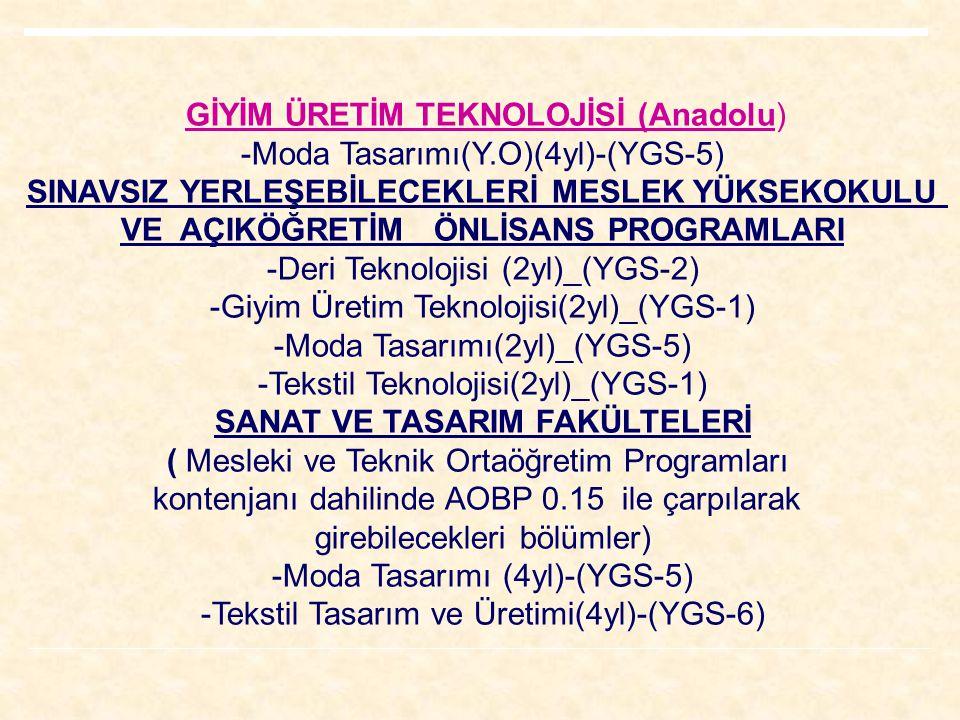GİYİM ÜRETİM TEKNOLOJİSİ (Anadolu) -Moda Tasarımı(Y.O)(4yl)-(YGS-5) SINAVSIZ YERLEŞEBİLECEKLERİ MESLEK YÜKSEKOKULU VE AÇIKÖĞRETİM ÖNLİSANS PROGRAMLARI -Deri Teknolojisi (2yl)_(YGS-2) -Giyim Üretim Teknolojisi(2yl)_(YGS-1) -Moda Tasarımı(2yl)_(YGS-5) -Tekstil Teknolojisi(2yl)_(YGS-1) SANAT VE TASARIM FAKÜLTELERİ ( Mesleki ve Teknik Ortaöğretim Programları kontenjanı dahilinde AOBP 0.15 ile çarpılarak girebilecekleri bölümler) -Moda Tasarımı (4yl)-(YGS-5) -Tekstil Tasarım ve Üretimi(4yl)-(YGS-6)