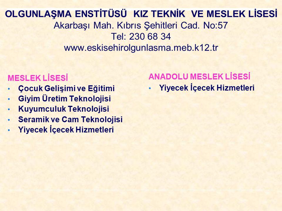 OLGUNLAŞMA ENSTİTÜSÜ KIZ TEKNİK VE MESLEK LİSESİ Akarbaşı Mah. Kıbrıs Şehitleri Cad. No:57 Tel: 230 68 34 www.eskisehirolgunlasma.meb.k12.tr MESLEK Lİ