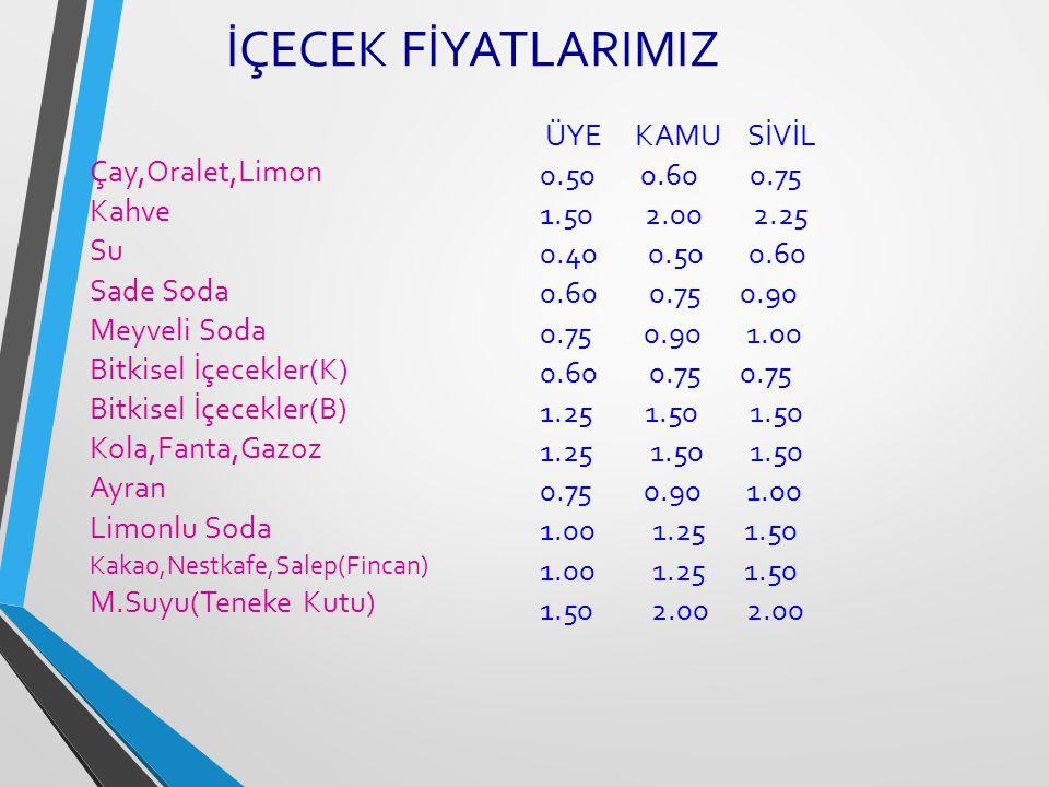 İÇECEK FİYATLARIMIZ Çay,Oralet,Limon Kahve Su Sade Soda Meyveli Soda Bitkisel İçecekler(K) Bitkisel İçecekler(B) Kola,Fanta,Gazoz Ayran Limonlu Soda K