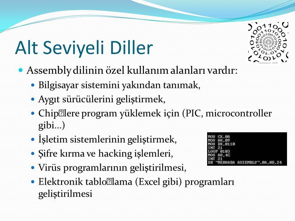 Alt Seviyeli Diller Assembly dilinin özel kullanım alanları vardır: Bilgisayar sistemini yakından tanımak, Aygıt sürücülerini geliştirmek, Chip'lere p