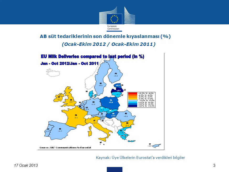 17 Ocak 20133 AB süt tedariklerinin son dönemle kıyaslanması (%) (Ocak-Ekim 2012 / Ocak-Ekim 2011) Kaynak: Üye Ülkelerin Eurostat'a verdikleri bilgile