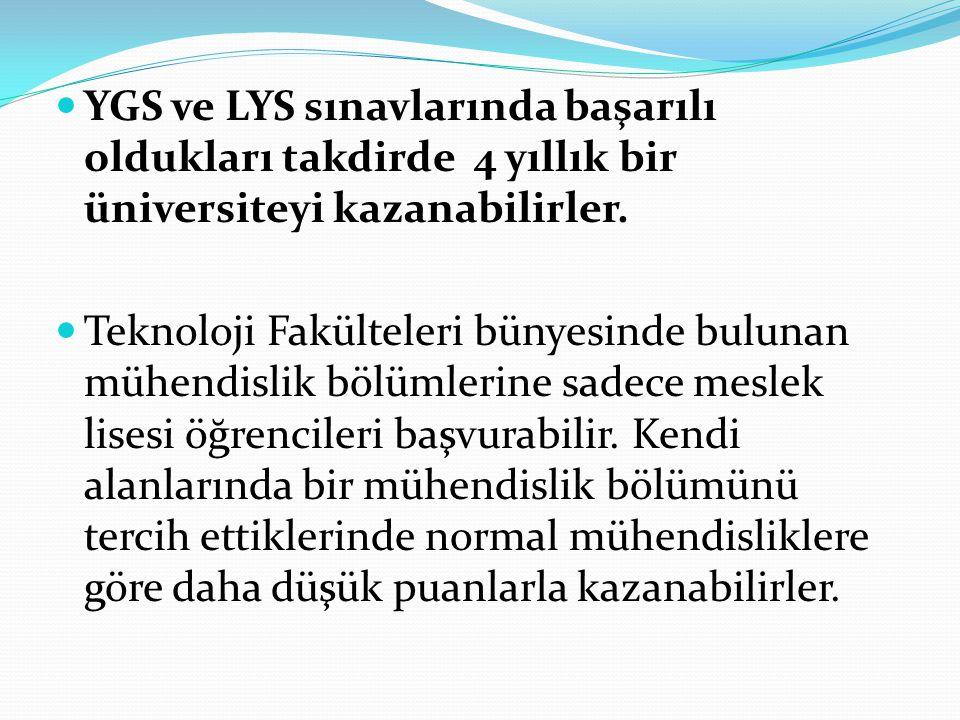 YGS ve LYS sınavlarında başarılı oldukları takdirde 4 yıllık bir üniversiteyi kazanabilirler. Teknoloji Fakülteleri bünyesinde bulunan mühendislik böl