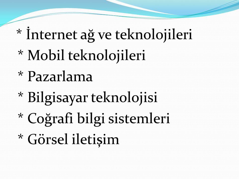 * İnternet ağ ve teknolojileri * Mobil teknolojileri * Pazarlama * Bilgisayar teknolojisi * Coğrafi bilgi sistemleri * Görsel iletişim
