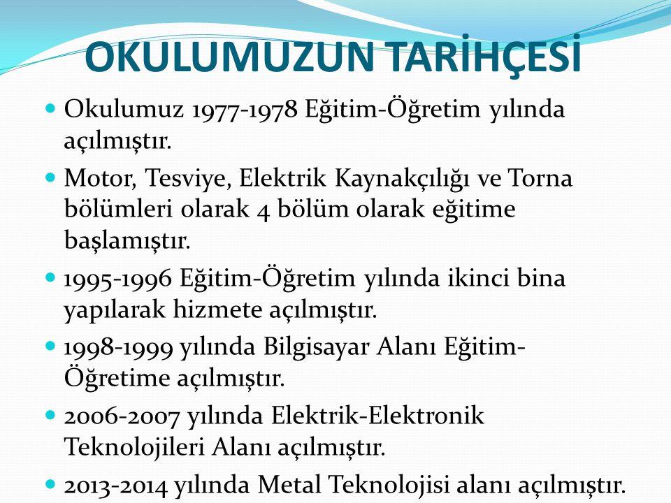 OKULUMUZUN TARİHÇESİ Okulumuz 1977-1978 Eğitim-Öğretim yılında açılmıştır. Motor, Tesviye, Elektrik Kaynakçılığı ve Torna bölümleri olarak 4 bölüm ola