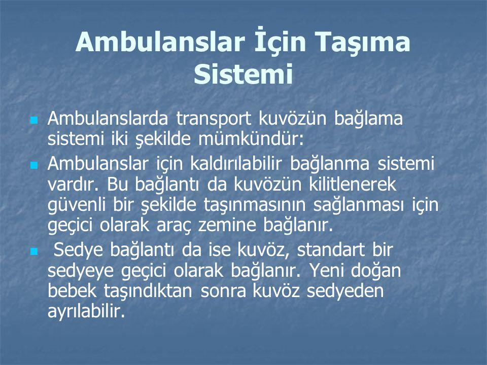 Ambulanslar İçin Taşıma Sistemi Ambulanslarda transport kuvözün bağlama sistemi iki şekilde mümkündür: Ambulanslar için kaldırılabilir bağlanma sistem