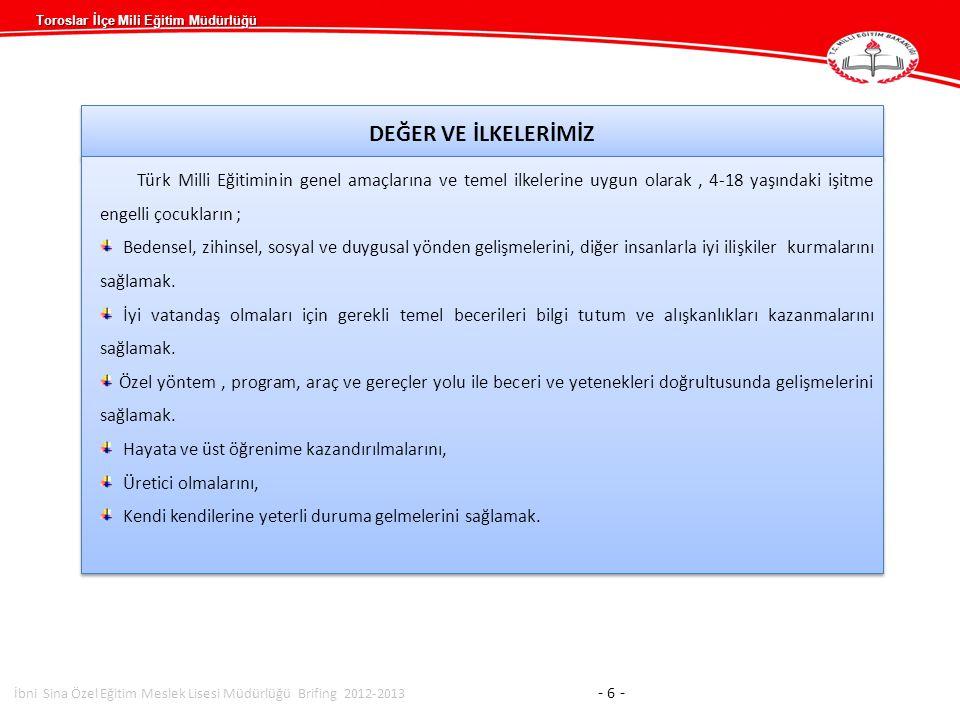Toroslar İlçe Mili Eğitim Müdürlüğü DEĞER VE İLKELERİMİZ Türk Milli Eğitiminin genel amaçlarına ve temel ilkelerine uygun olarak, 4-18 yaşındaki işitm