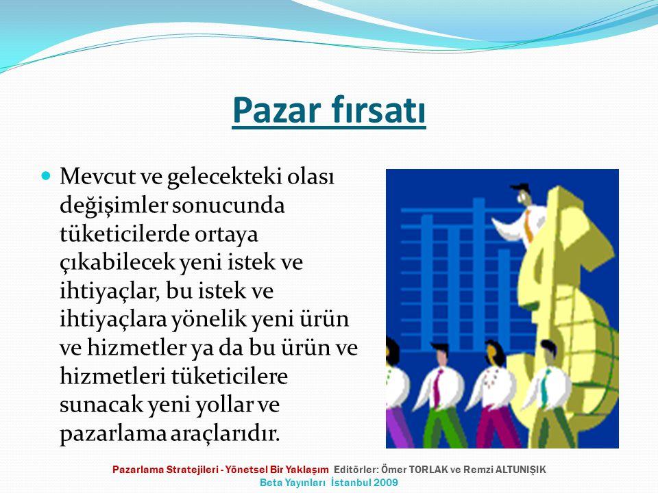 Pazar fırsatlarını değerlendirebilmek Fırsatların tanımlanması Fırsatların organizasyon ile uyumunun sağlanması Fırsatların değerlendirmeye alınması Pazarlama Stratejileri - Yönetsel Bir Yaklaşım Editörler: Ömer TORLAK ve Remzi ALTUNIŞIK Beta Yayınları İstanbul 2009
