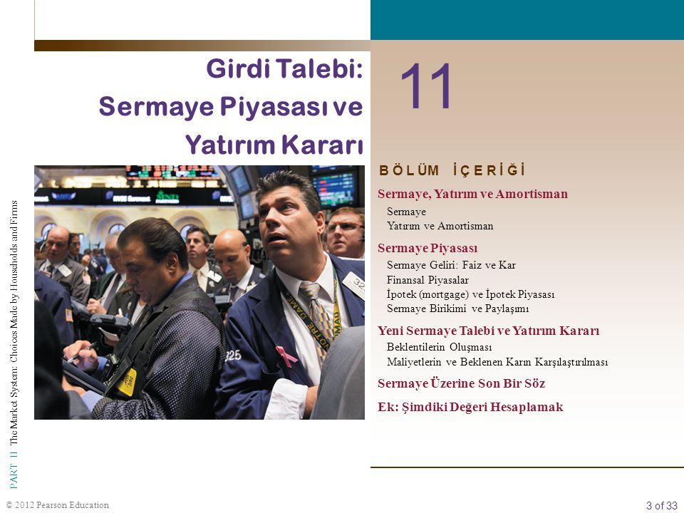 3 of 33 PART II The Market System: Choices Made by Households and Firms © 2012 Pearson Education B Ö L ÜM İ Ç E R İ Ğ İ 11 Girdi Talebi: Sermaye Piyas