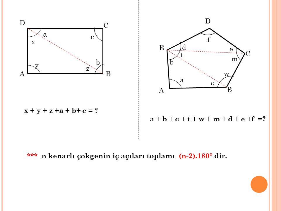 D C A B x b a z y c x + y + z +a + b+ c = ? B A E D C f e d b a c m t w a + b + c + t + w + m + d + e +f =? *** n kenarlı çokgenin iç açıları toplamı
