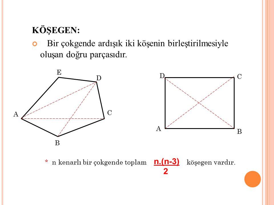 KÖŞEGEN: Bir çokgende ardışık iki köşenin birleştirilmesiyle oluşan doğru parçasıdır. E D C A B D B A C * n kenarlı bir çokgende toplamköşegen vardır.