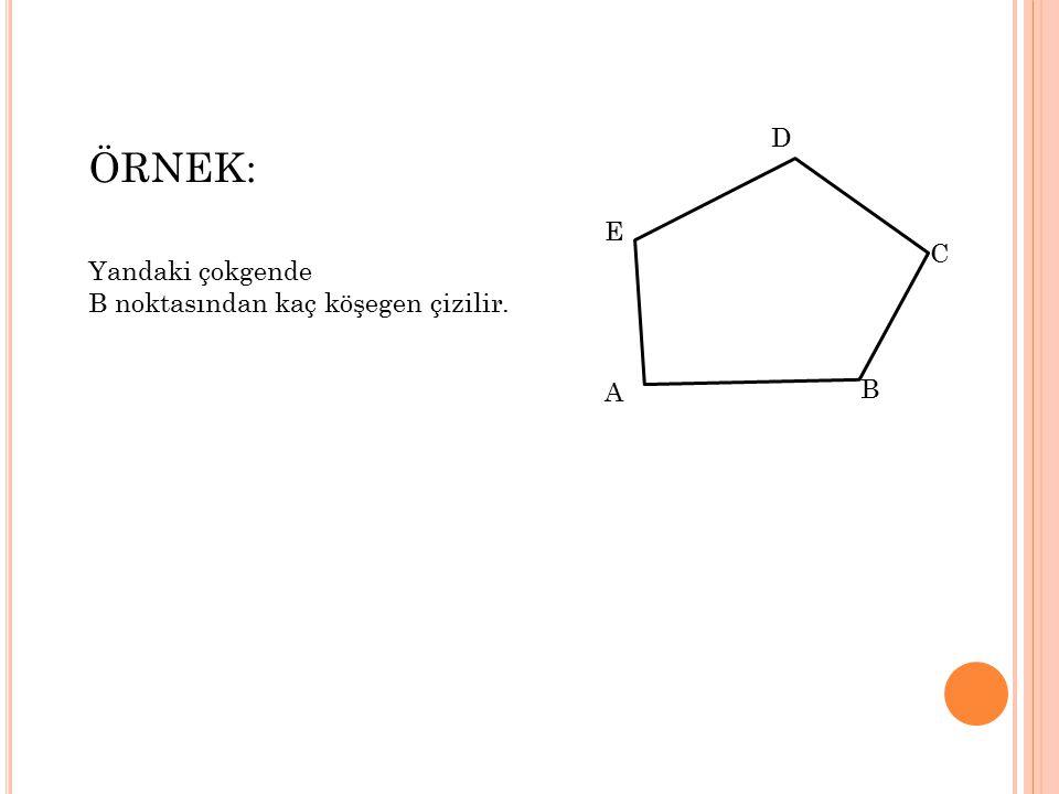 B A E D C D C A B *** n kenarlı çokgende bir köşeden çizilen köşegenler çokgeni n-2 bölgeye ayırır.